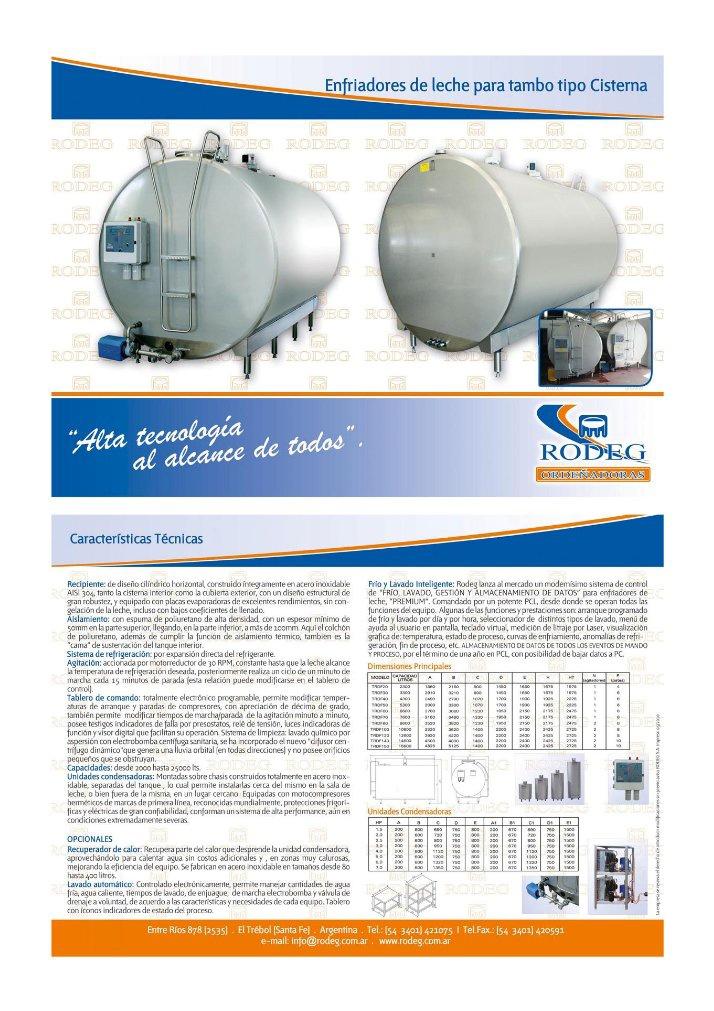 Enfriadores de leche tipo Cisterna