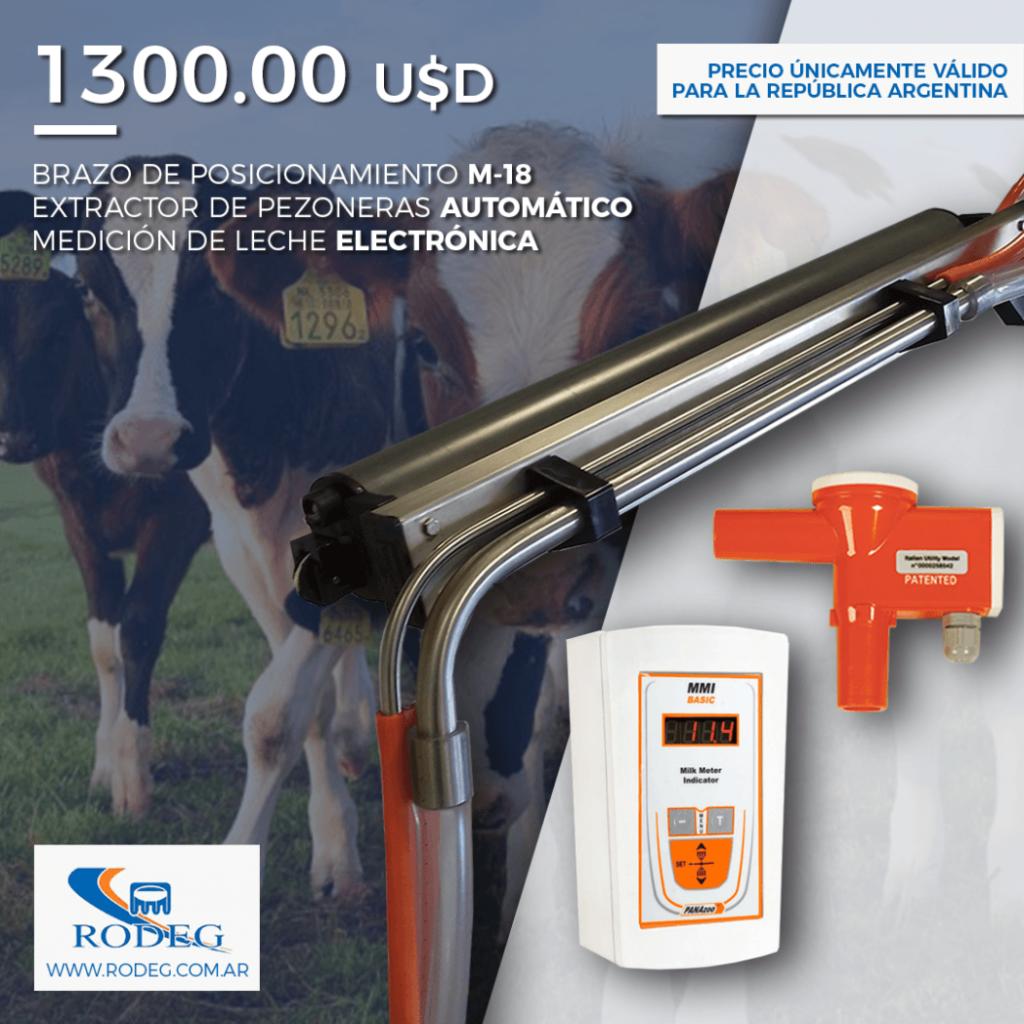 Brazo de posicionamiento + Extractor de pezoneras + Medicion de leche